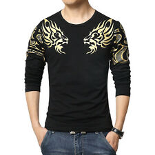 Hot Sale Men's Crew Neck Printed Bronzing Stylish Long Sleeve Causal T-shirt