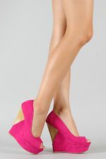 Fuchsia Pink Faux Suede Open Toe High Heel Platform Wedge Sandal Qupid