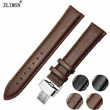 Mens Ladies Brown Genuine Leather Watch Band Strap Gold Plated Fold Clasp Buckle