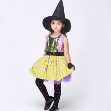 Halloween Witch Costume Dress Gloves Hat Party Cosplay Outfit for Girl Children