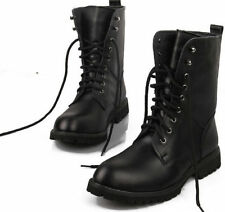 New Men's Faux Leather Thick Lace Up Boots High-Top Motorcycle Army Ankle Boots