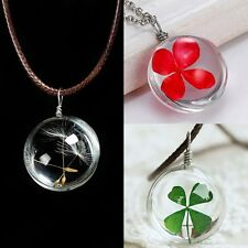 New Lucky Four Leaf Clover Dandelion Seeds Dried Flower Pendant Necklace Jewelry