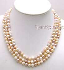 SALE 7-8MM MULTI-COLOR Round Natural Freshwater PEARL 3 STRANDS Necklace-5190