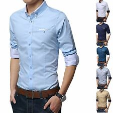 2016 Fashion Stylish Mens Business Formal Dress Shirts Slim Fit Casual Shirt Top