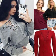 Fashion Women Casual Long Sleeve Hoodie Knitted Bandage Sweaters Casual Pullover