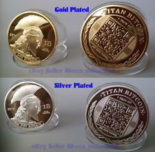 Lot of 2pcs 2014 Titans Bitcoin Collectible Gold & Silver Plated Souvenir Coins