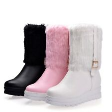 Girls College Womens Ankle Boots Fashion ROund Toe Warm Winter Snow Furry Shoes