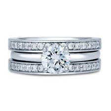 BERRICLE Sterling Silver Round CZ Solitaire Engagement Ring Set 1.3 Carat