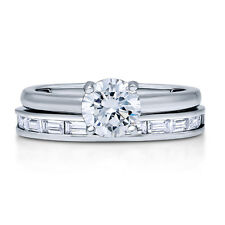 BERRICLE Sterling Silver Round CZ Solitaire Engagement Ring Set 1.495 Carat