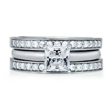 BERRICLE Sterling Silver 1.3 Carat Princess Cut CZ Solitaire Stackable Ring Set