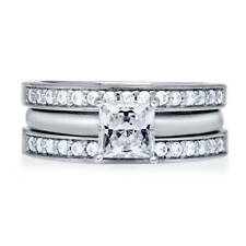 BERRICLE Sterling Silver Princess CZ Solitaire Engagement Ring Set 1.3 Carat
