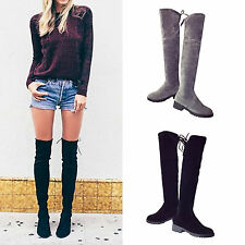 Hot Fashion Womens Ladies Flat Low Heel Over Knee High Suede Boots Casual Shoes