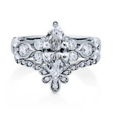 BERRICLE Sterling Silver Marquise CZ Solitaire Right Hand Cocktail Ring Set