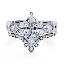 Silver Marquise Cubic Zirconia CZ Solitaire Engagement Ring Set 2.395 CT