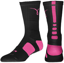 Nike Elite Kay Yow Sock Breast Cancer Socks - M or L - Black/Pinkfire - RARE