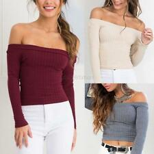 Womens Knit Off Shoulder Tank Tops Long Sleeve Sweater Crop Tops T-shirt Blouse