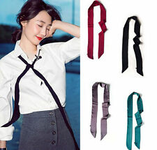 11 Colors Fashion Womens Silk Satin Solid Skinny Long Scarf / Tie / Belt
