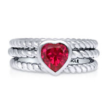 BERRICLE Silver Heart Shaped Simulated Ruby CZ Cable Solitaire Ring Set 0.74 CTW
