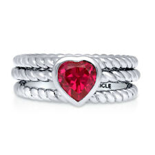 Silver Heart Shaped Simulated Ruby CZ Cable Solitaire Cocktail Ring Set 0.74 CT