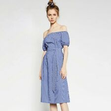Preppy Style Off The Shoulder Striped Dress with Belt for Women