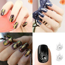 Zipper Peacock Feather Nail Art Water Transfers Stickers Decals Wraps Decoration