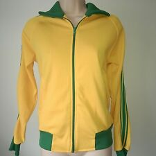 GOLD AND GREEN TRACK TOP 1980'S VINTAGE TONIX JERSEY SIZE ADULT S