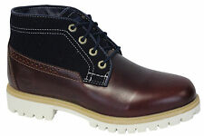 Timberland Leather Fabric Chukka Mens Boots Blue Brown Shoes Lace Up A119W D109