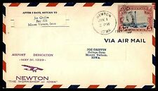 MAYFAIR99 NEWTON IA JUNE 1 1929 PURPLE AIRPLANE BLUE RED STRIPES ON COVER`