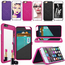 Flip Mirror Hard Case With Wallet Card Holder Stand Cover For iPhone7 7 Plus Lot