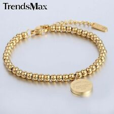 Women Ladies Chain Silver Gold 3MM Ball Bead Link Stainless Steel Charm Bracelet