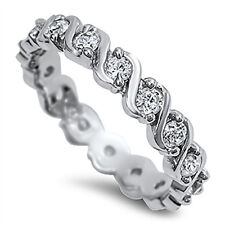 Sterling Silver .925 CZ Infinity Women's Eternity Wedding Band Ring Size 5-10