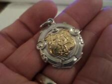ANTIQUE ENGLISH HALLMARK STERLING SILVER POCKET WATCH CHAIN FOB MEDAL 1932