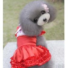 Satin Bowknot Lace Pet Dog Puppy Party Skirt Princess Dress Clothes S-XL