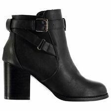 Miso Womens Buckle Chunky Heel Ankle Boots Side Zip Casual Shoes