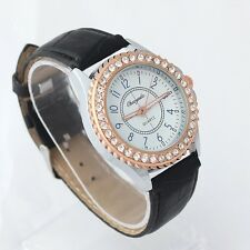Unisex Fashion Women Men Boy Casual Rhinestone Leather Quartz Wristwatch U59S