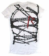 Rihanna Barbed Wire R Logo Girls Juniors White T Shirt New Official