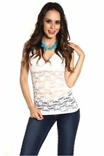 DEALZONE Gorgeous V Neck Lace Top S M L Small Medium Large Women White Casual U