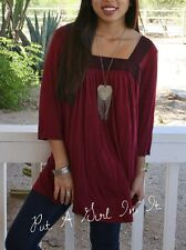 PLUS SIZE BURGUNDY LACE BOHO BABYDOLL 3/4 SLEEVE LOOSE FULL TUNIC TOP 1X 2X 3X
