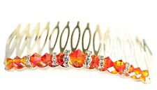 FIRE OPAL ORANGE Crystal Hair Comb Handcrafted Swarovski Elements