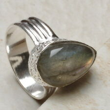 NATURAL LABRADORITE GEMS 925 STERLING SILVER PLATED OVER SOLID COPPER RING SZ 8