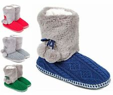 Ladies Knitted Fur Lined Premium Boot Slippers Size 3 to 8 UK WINTER WARM LB-04