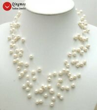 SALE White 6-7mm natural Freshwater Pearl Starriness 8 Strands Necklace-nec5060