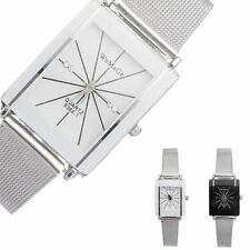 Fashion Luxury Women/men's Stainless Steel Square Analog Quartz Wrist Watch SD