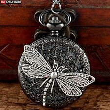 Antique Butterfly Pendant Quartz Necklace Chain Pocket Watch Vintage Steampunk