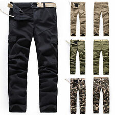 Cargo Pants Mens Winter Fleece Sport Workout Camouflage Slim Fit Casual Trousers