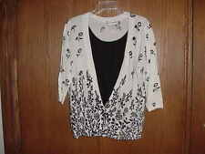 WOMEN'S CLOTHING CATHY DANIELS SWEATER SET 1 PIECE BLACK FLORAL ON WHITE SIZE XL