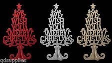 3D Christmas Wish Tree Glitter Decoration 25cm Free Standing Table Top Ornament