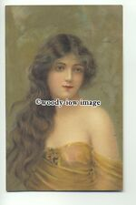 su2416 - Young Woman with long hair - Beautiful Heads series - art postcard