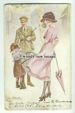 su2411 - Young Woman with child meets soldier - artist Suzanne Meunier- postcard
