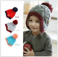 New Winter Baby Kids Girl Boy Braided Knit Beanie Ear Flap Earflap Hat